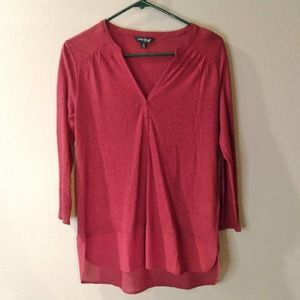 Lucky Brand Red 3/4 Sleeve Top Shirt Small